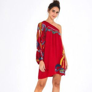 Farm Rio Embroidered One Shoulder Mini Dress NWT